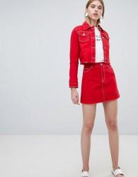 Urban Bliss A Line Denim Skirt with Raw Hem - Red