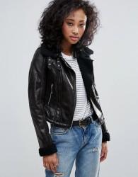 Urban Bliss Biker Jacket With Borg Collar - Black