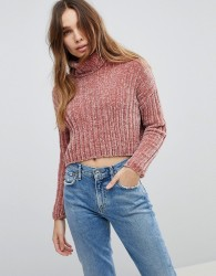 Urban Bliss Chenille High Neck Cropped Knitwear - Pink