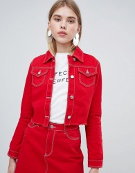 Urban Bliss Cropped Denim Jacket with Raw Hem - Red