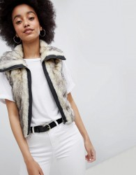 Urban Bliss Cropped Fur Gilet - Cream