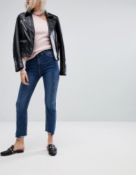 Urban Bliss Cropped Kick Flare Jean with Front Seam and Raw Hem - Blue