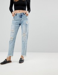 Urban Bliss Cropped Straight Leg Jean with Distressing - Blue