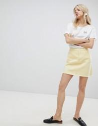 Urban Bliss Distressed Denim Skirt - Yellow