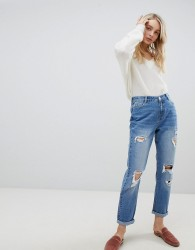 Urban Bliss Distressed Mom Jeans in Light Wash - Blue