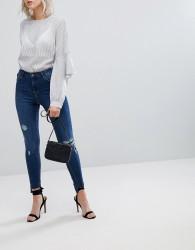 Urban Bliss Distressed Ripped Skinny Jean in Darkwash - Blue