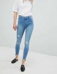 Urban Bliss Distressed Ripped Skinny Jean in Light Wash - Blue