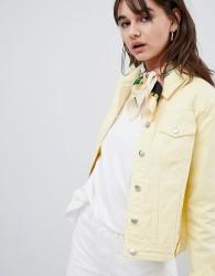 Urban Bliss Distressed Trucker Denim Jacket - Yellow