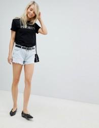 Urban Bliss Distressed Waist and Hem High Waist Shorts - Blue