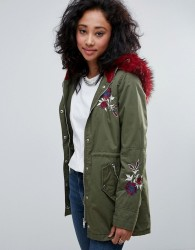 Urban Bliss Embroidered Parka Coat With Contrast Faux Fur - Green