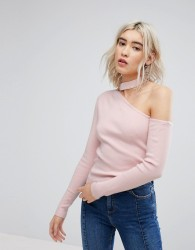 Urban Bliss Exposed Shoulder Knit with Choker Detail - Pink