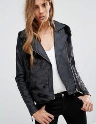Urban Bliss Faux Fur Biker Jacket - Black