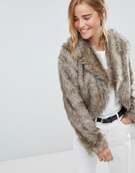 Urban Bliss Francesca Fur Jacket - Brown