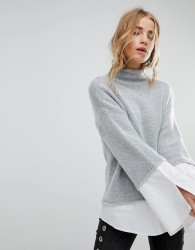 Urban Bliss High Neck Knit with Shirting - Grey