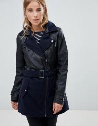 Urban Bliss Kentucky Wool PU Mix Jacket - Black