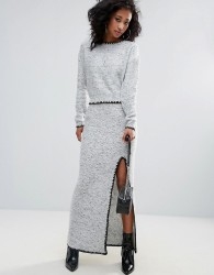 Urban Bliss Knitted Pencil Skirt With Thigh Split - Grey
