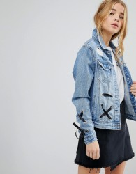 Urban Bliss Lace Up Denim Jacket - Blue