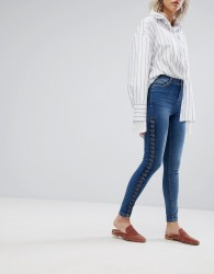 Urban Bliss Lace Up Skinny Jean - Blue