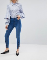 Urban Bliss Lace Up Splice Hem Skinny Jean - Blue