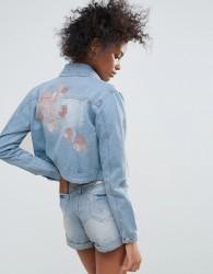 Urban Bliss Macy Embroidered Denim Jacket - Blue