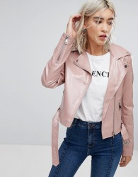 Urban Bliss Patent Biker Jacket - Pink