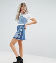 Urban Bliss Petite Deconstructed Lace Patchwork Denim Mini Skirt - Multi