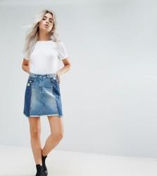 Urban Bliss Petite Deconstructed Tonal Panelled Mini Denim Skirt With Distressed Hem - Multi