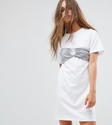 Urban Bliss Petite Oversized T-Shirt Dress With Bra Top - White