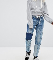 Urban Bliss Petite Straight Leg Jeans With Shadow Patching And Raw Hem - Blue