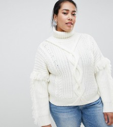 Urban Bliss Plus Cable Knit Roll Neck with Tassle Detail - Cream