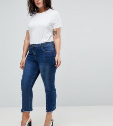 Urban Bliss Plus Cropped Kick Flare Jean with Front Seam and Raw Hem - Blue