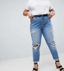 Urban Bliss Plus Distressed Mom Jeans in Light Wash - Blue