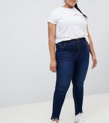 Urban Bliss Plus Distressed Ripped Skinny Jean in Indigo Wash with Destroyed Hem - Blue