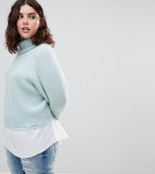 Urban Bliss Plus High Neck Knit with Shirting - Blue
