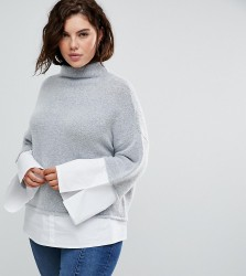 Urban Bliss Plus High Neck Knit with Shirting - Grey