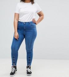 Urban Bliss Plus Lace Up Splice Hem Skinny Jean - Blue