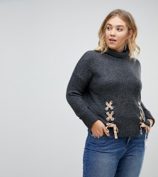 Urban Bliss Plus Lace up Turtle Neck Knitwear - Grey