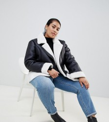 Urban Bliss Plus Leather Look Jacket with Faux Fur Internal - Black