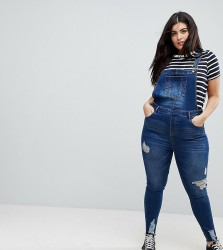 Urban Bliss Plus Skinny Dungaree with Distressing - Blue