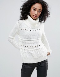 Urban Bliss Roll Neck Jumper With Fringing Detail - Cream