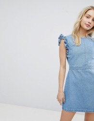 Urban Bliss Ruffle Shoulder Denim Dress With V Back - Blue