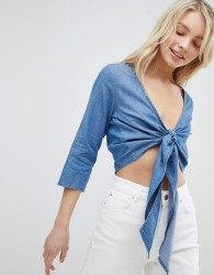 Urban Bliss Tie Front Long Sleeve Crop - Blue