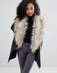Urban Bliss Waterfall Coat With Wide Faux Fur Collar - Black
