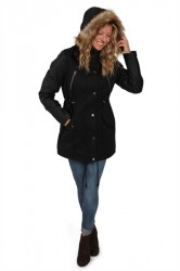 Urban Classics - Jakke - Ladies Leather Imitation Sleeve Parka - Black/Black