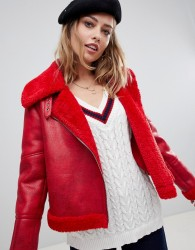 Urbancode aviator coat with bonded faux fur - Red