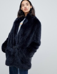 Urbancode Bailey faux fur car coat - Black