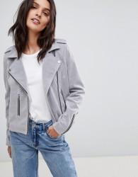 Urbancode Biker Jacket in Faux Suede - Grey