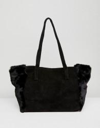 Urbancode Black Suede And Faux Fur Shopper - Black