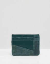 Urbancode card holder in leather and suede mix - Green