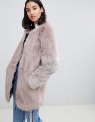 Urbancode Claudia faux fur collarless zip coat - Brown